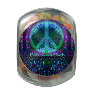 Paz en la tierra en azul y verde frascos de cristal jelly belly