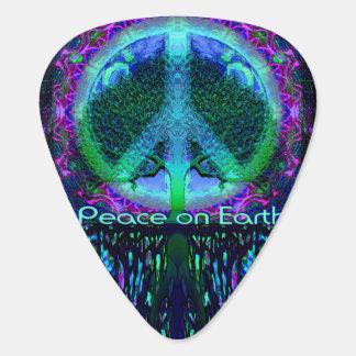 Paz en la tierra en azul y verde plumilla de guitarra