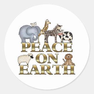 Paz en la tierra etiqueta redonda