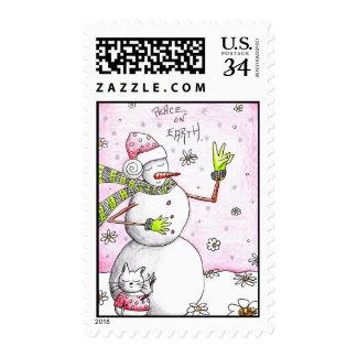 Paz en la tierra - franqueo de la postal