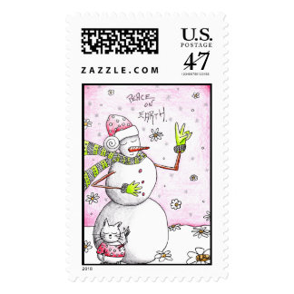 Paz en la tierra - franqueo de la tarjeta de sello postal