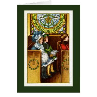 Paz en la tierra, iglesia, niños, navidad tarjeta de felicitación