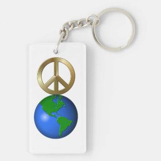 Paz en la tierra llavero rectangular acrílico a doble cara