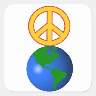 Paz en la tierra pegatina cuadrada