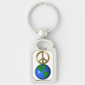 Paz en la tierra llavero plateado rectangular