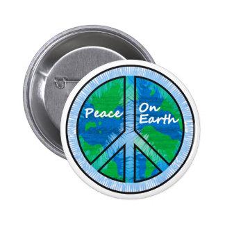 Paz en la tierra pin redondo de 2 pulgadas