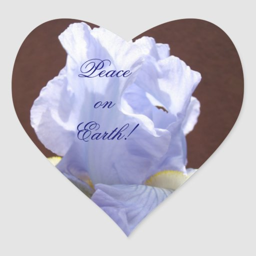 ¡Paz en la tierra! Sello en forma de corazón del Pegatina En Forma De Corazón
