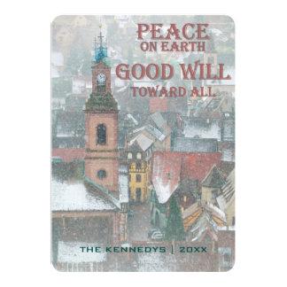 """Paz en la tierra - vista del pueblo de Alsacia - Invitación 5"""" X 7"""""""