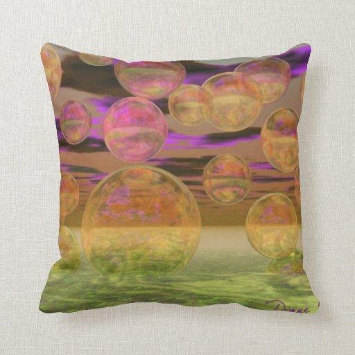Paz en la tranquilidad violeta y ambarina de la cojines