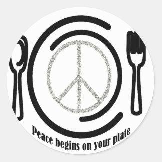 Paz en los pegatinas de la placa