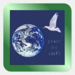 Paz en los pegatinas del cuadrado de la tierra calcomania cuadradas personalizada