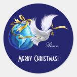 Paz en los pegatinas del GIF del navidad de Pegatina Redonda