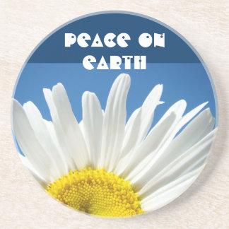 Paz en margarita de la piedra arenisca de los rega posavasos personalizados
