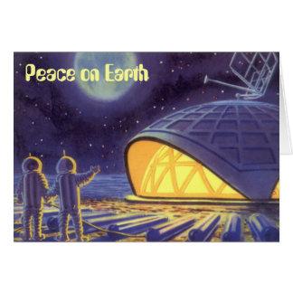 Paz en navidad de la ciencia ficción del vintage tarjetón