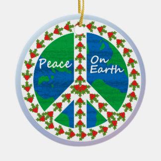 Paz en navidad de la tierra adorno navideño redondo de cerámica