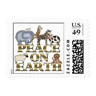 Paz en navidad de la tierra estampilla