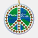 Paz en navidad de la tierra ornamento de navidad
