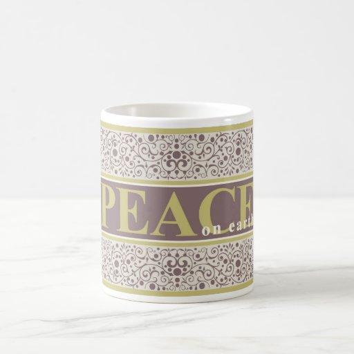 Paz en navidad poner crema púrpura del oro taza básica blanca
