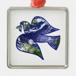 Paz en paloma de la tierra ornaments para arbol de navidad
