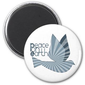 Paz en paloma de la tierra imán redondo 5 cm