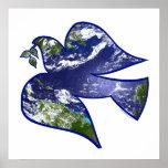 Paz en paloma de la tierra posters