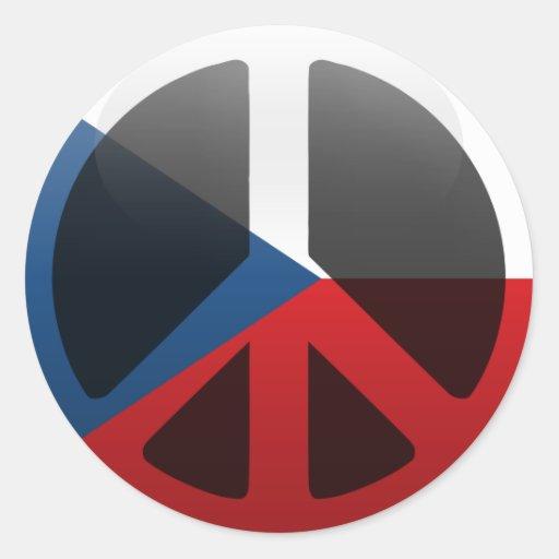 Paz en República Checa Pegatina Redonda