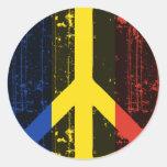 Paz en Rumania Etiqueta Redonda