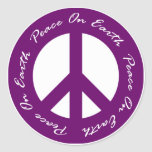 Paz en signo de la paz púrpura del día de fiesta d etiquetas redondas