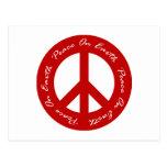 Paz en signo de la paz rojo del día de fiesta de l postal