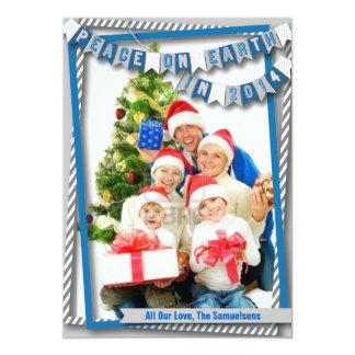 """Paz en tarjeta azul de la foto de la tierra invitación 5"""" x 7"""""""