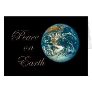 Paz en tarjeta de Navidad de la tierra