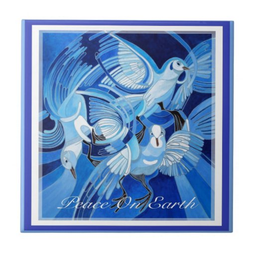 Paz en tarjeta de Navidad de la tierra con las pal Azulejo Cuadrado Pequeño