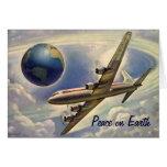 Paz en tarjeta de Navidad del aeroplano del vintag