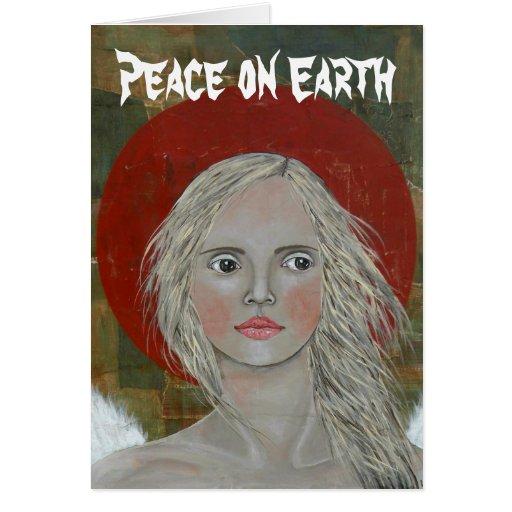 Paz en tarjeta de Navidad del ángel de la tierra