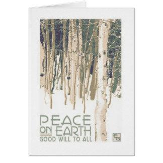 Paz en tarjeta de Navidad del artesano de la tierr