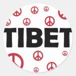 Paz en Tíbet Pegatina Redonda