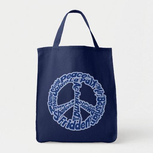 Paz en todas las idiomas bolsa de mano