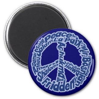 Paz en todas las idiomas imán redondo 5 cm