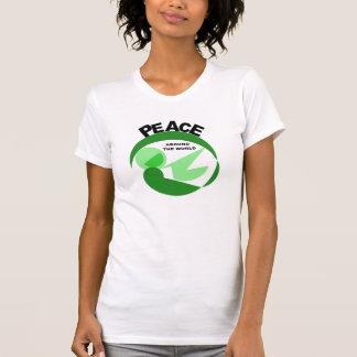 Paz en todo el mundo con imagen del vector playera