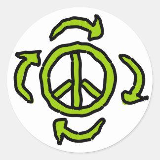Paz en verde pegatina redonda
