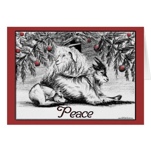Paz enana de la tarjeta de Navidad de la cabra