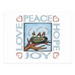 Paz, esperanza, amor, alegría postal