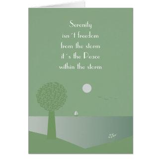 Paz espiritual dentro de la tarjeta de la tormenta