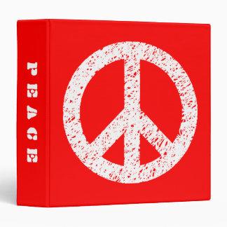 Paz estarcida garabato (el 1.5in) - blanco en rojo