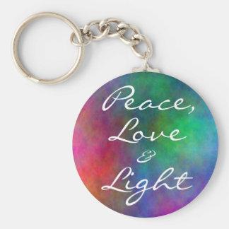 paz etérea, amor, y, luz llavero redondo tipo pin