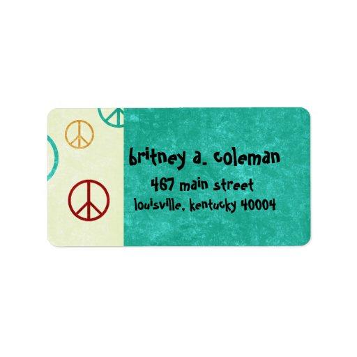 paz etiqueta de dirección