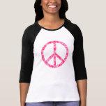 Paz floral rosada camiseta