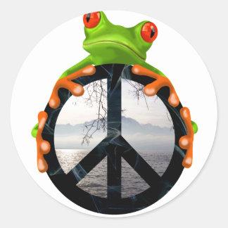 paz frog1 pegatina redonda