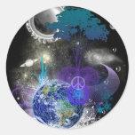 Paz geométrica cósmica pegatina redonda