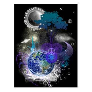 Paz geométrica cósmica tarjeta postal